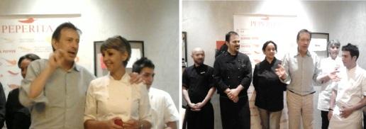 Carlo Vischi con Rita Salvadori e con gli chef della serata
