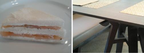Mini sandwich  al salmone - Alla Corsia del Giardino, Il gancio per le borse fa parte del tavolo