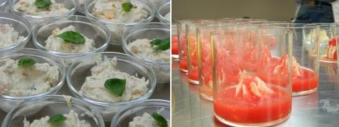 Terrina di melanzane affumicate con verdure e Passatina di pomodoro con ricotta, limone e sciabu sciabu di seppie