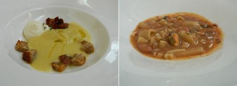 Crema di finocchi con mousse di Grana Padano - Pasta, fagioli, polpo e cozze