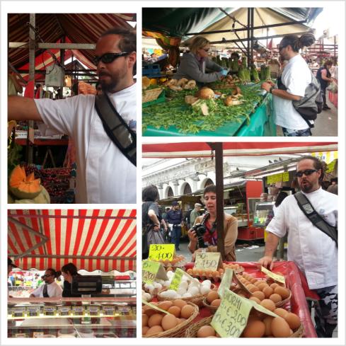 Al mercato di Porta Palazzo a Torino con lo chef stellato, Marcello Trentini, del ristorante mago rabin