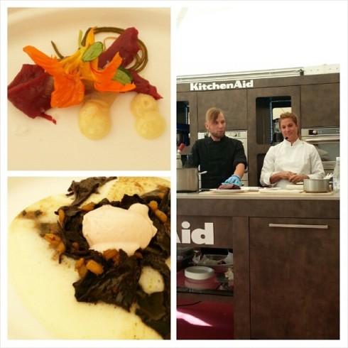 La chef slovena Ana Roš e i piatti realizzati nella cucina KitchenAid: sashimi di cuore di cervo e orzo con trombette dei morti