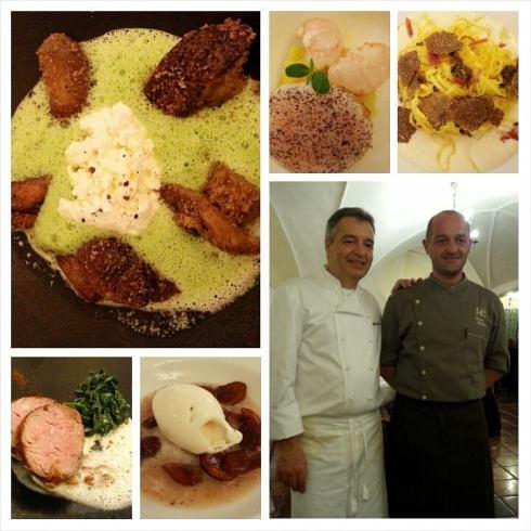 I piatti realizzati dallo chef (stella Michelin) Andrea Canton, del ristorante La Primula di San Quirino (Pn), con lo chef Diego Bellotto dell'Edelhof di Tarvisio