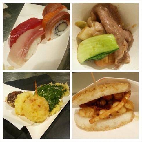 Sushi, Sukiyaki, Tempura e Rice Burger