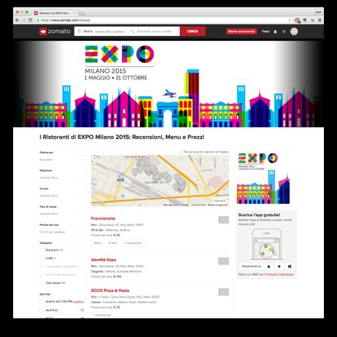 La home page del mini-sito di Zomato dedicato a Expo